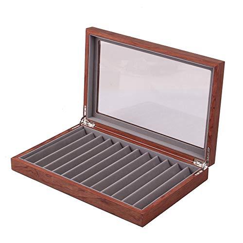 Luntus Caja de Almacenamiento de 12 Plumas de Madera, Caja de ExhibicióN de Pluma de Vidrio con Tapa, Caja de ExhibicióN de ColeccióN de Pluma de Ventana de Vidrio Superior 1