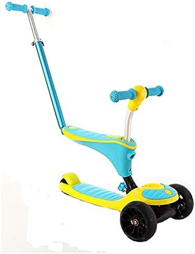 Kinder Roller 1-6 Jahre alt k en Sätzen junge Weißiche Baby Kind Fu ad kann drücken kann reiten multifunktionale (Farbe   Gelb)