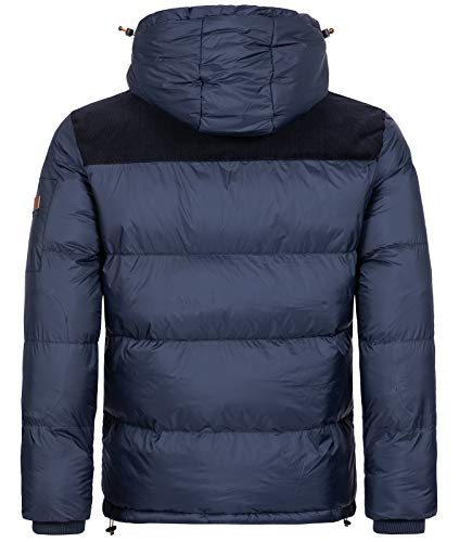 Geographical Norway H-253 Men's Winter Jacket Quilted Jacket Hiking Jacket Hood - Blue - Large