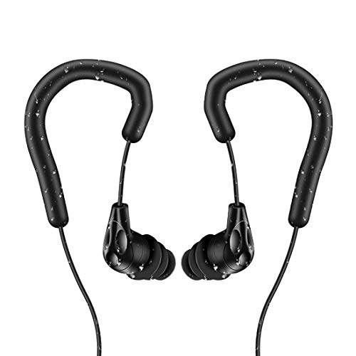 AGPTEK Swimming Earbuds with Adjustable Earhook, IPX8 Waterproof in-Ear Earphones with Different Eartips and Stereo Audio Extension Cable, Black SE13