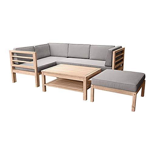 Pureday Gartenmöbel-Set variabel platzierbar 2 Sitzelemente 1 Gartentisch 1 Hocker-Sessel