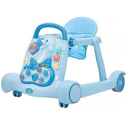 3 en 1 multifuncional lateral Rollover Childrens Walker cochecito de bebé Juguetes sonidos musicales de juguete de aprendizaje sentarse, pararse paseo, silla de bebé plegable o un asiento, 3 liuchang2