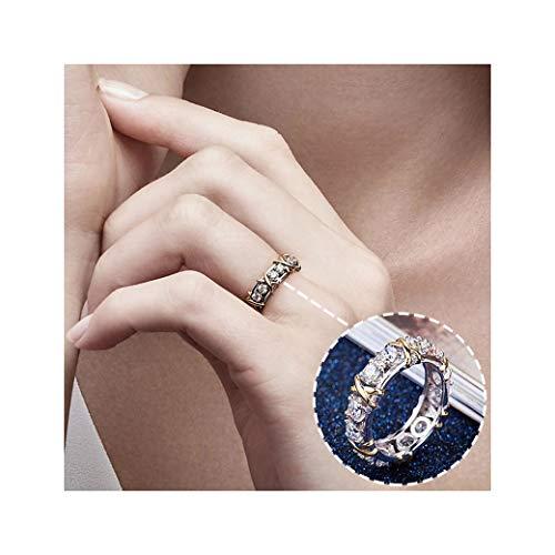 Hunpta Anillo de plata de ley con cristales y circonitas cúbicas para mujer, joyería de compromiso o boda (plata, 6)