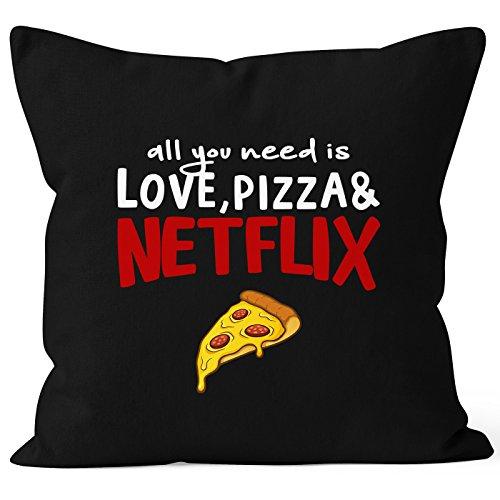 MoonWorks Kissen-Bezug All You Need is Love, Pizza and Netflix Kissen-Hülle Deko-Kissen Baumwolle schwarz Unisize