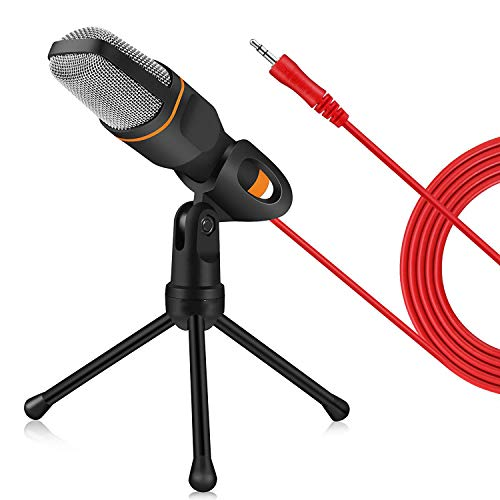 NBWS Studiomicrofoon, pc-microfoon, met standaard voor mobiele telefoon, voor computer, laptop, iPhone, iPad, smartphone, gaming, Singen, YouTube, Skype, Podcast.