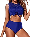 Tempt Me Royal Blue Two Piece High Neck Swimsuit for Women Padded Lace Mesh Knot Hem Bikini Set Bathing Suit M(US 8-10)