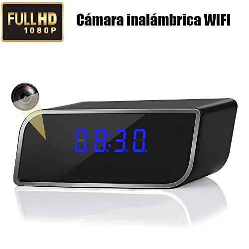 Cámara USB, Mini Reloj Despertador cámara HD 1080P WiFi, visión Nocturna y Detector de Movimiento, cám microvigilancia portátil, pequeña cámara inalámbrica de Gran Angular Interior/Exterior de 150°