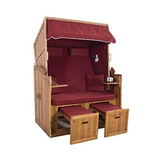 2-Sitzer Strandkorb Hörnum - Volllieger mit Fußablagen – inkl. Nackenkissen und Kuschelkissen Set - (Geflecht - Natur, Rot - Uni)