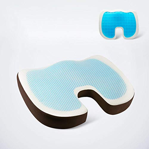 Coccyx Pain Relief Cushion Seat Cushion Office Chair Cushion Coccyx Cushion Sciatica Pain Beautiful Hip Cushion Decompression Seat Cushion Gel Breathable Ice Pad Pregnant Woman Butt Pad-Mocha_Cold