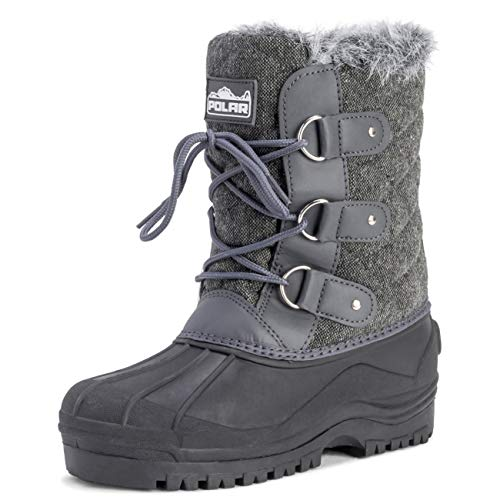 Womens Mid Calf Mountain Walking Tactical Waterproof Boots - Gray Textile - US11/EU42 - YC0369