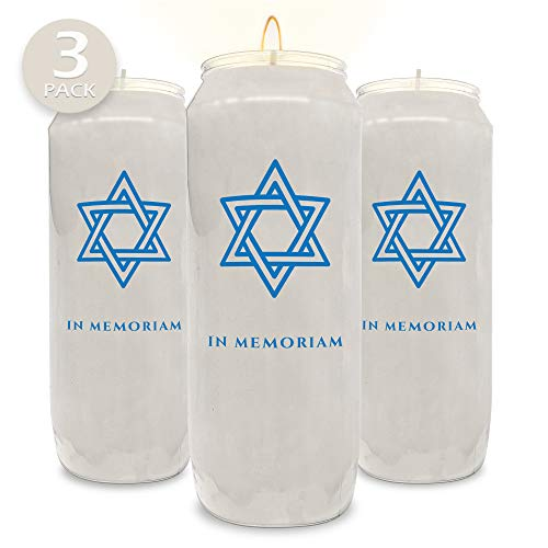 """Ner Mitzvah 9 Day Memorial Candles, 3 Pack - Plastic Jar with Star of David - 7"""" Tall Pillar Candles for Religious, Prayer, Party Decor, Vigil and Emergency Use"""