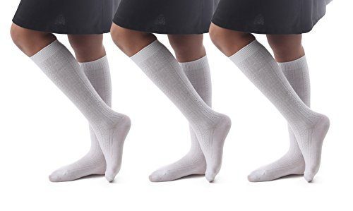 Price comparison product image Cable Knit Knee High Socks / High Cut Compression Socks For High School / 3Pairs