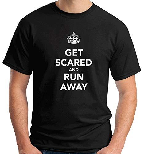 T-Shirt Mann Schwarz TKC3807 GET Scared and Run Away