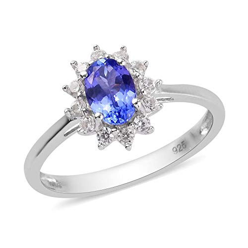 TJC Tanzanite Halo Ring for Womens in Platinum Plated 925 Sterling Silver Anniversary/Wedding/Proposal Gemstone Jewellery Size S with White Zircon Blue Coloured December Birthstone, TCW 1ct