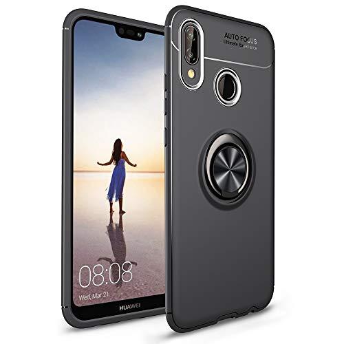 NALIA Funda con Anillo Compatible con Huawei P20 Lite, Protectora Carcasa con Soporte Movil Coche Magnetico con 360° Kickstand, Fina Ring-Case Cover Cubierta Bumper Dura Smart-Phone Estuche - Negro