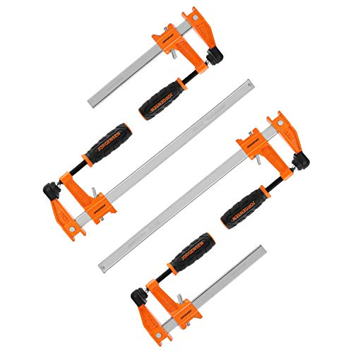 JORGENSEN 4-pack Steel Bar Clamps Set, 6-inch & 12-inch Medium Duty, 600 Lbs Load Limit, for Woodworking