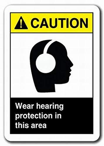 cwb2jcwb2jcwb2j metalen bord garage waarschuwing teken slijtage gehoorbescherming in dit gebied veiligheidsbord waarschuwing teken Tin metalen Decor teken kwaliteit aluminium (Set van 1)