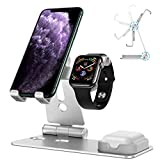 OMOTON 3 in 1 Supporto per iPhone e Apple Watch e Airpods in Alluminio Stand da Tavolo con Foro per...