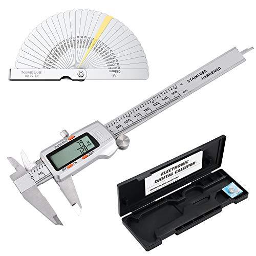 Rhinoco Digitaler Messschieber mit 32 Fühlerlehre, elektronischer Messschieber für Brüche / Zoll / metrisches Umwandlungsmessgerät mit stabilem Aufbewahrungskoffer und extra Batterie