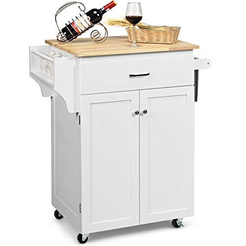 Giantex Rolling Kitchen Island, Kitchen Trolley Cart with Spice Rack, Large Drawer, Towel Rack, Storage Pantry Cabinet with Adjustable Shelf, Kitchen Cart on Wheels, Dining Room Furniture (White)