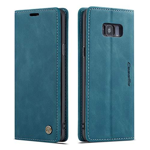 M CASEME QLTYPRI Hülle für Samsung Galaxy S8 Plus, Vintage Dünne Handyhülle mit Kartenfach Geld Slot Ständer PU Ledertasche TPU Bumper Flip Schutzhülle Kompatibel mit Samsung Galaxy S8 Plus - Blau