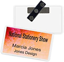 Name Badge Productions - 3.5 x 5 Inch Business Card Holder Badge - Poly Vinyl - Heavy-Duty 3-Touch Magnet - Top Loading - Reusable - Durable- 10 per Package