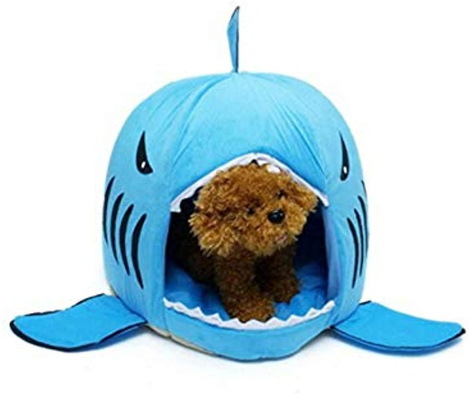 FidgetGear Washable Shark Pet House Cave Bed for Small Medium Dog Cat with Removable Cushio bluee S 42  42cm 16.5  16.5 in