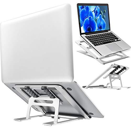 Epilum Soporte Portátil, Aluminio Ventilado Refrigeración Soporte Ordenador Portátil Plegable,Adjustable Antideslizante Silicona Soporte Ordenador, para Soporte Macbook y Otros 10-15.6 Portatiles.