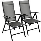 Klappstuhl Gartenstuhl, 2er Set Alu Klappsessel, 7-Fach Verstellbare Hochlehner Stühle, Outdoor Wetterfest Terassenstuhl, Gartenmöbel, grau