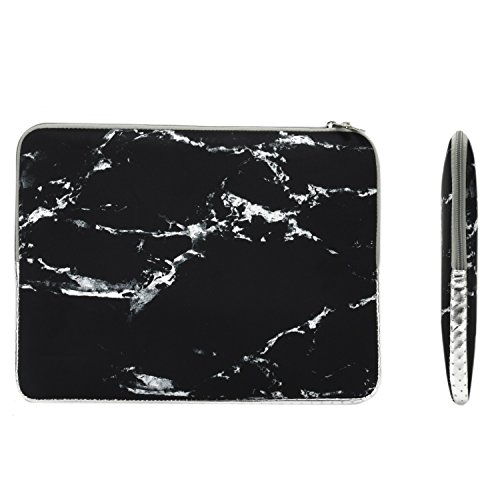 TOP CASE  Marble Pattern Zipper Sleeve Bag Case Compatible with All Laptop 13quot 13inch MacBook Pro with or Without Retina Display/MacBook Air/MacBook Unibody/Ultrabook/Chromebook  Black