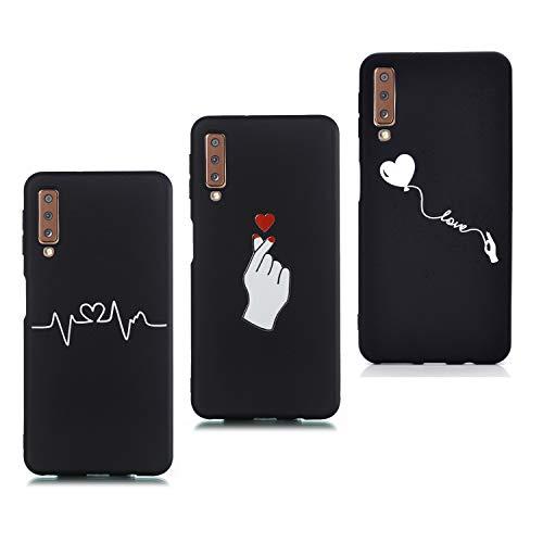 HopMore 3X Compatibel met Samsung Galaxy A7 2018 siliconen zwart zacht, Samsung Galaxy A7 2018, Ballon A