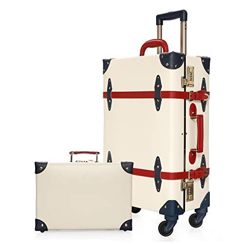 urecity Reisekoffer Luxus Niedlich Retro Gepäck Sets 2 Stück mit Nummernschloss (Elfenbein Weiß, 20