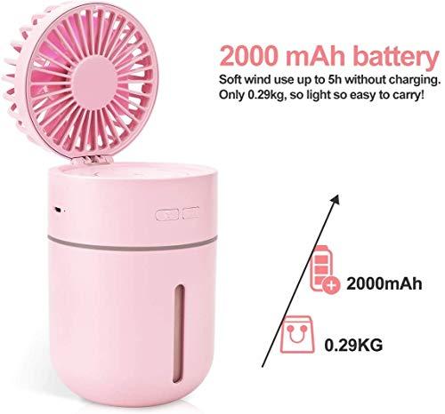 DAI QI Mini humidificadores for Office dormitorio - Portable 2 en 1 USB spray humidificadores con ventilador, 400ML del tanque de agua dura hasta 10 horas, 2 Niebla Modos con 7 luces de los colores fo