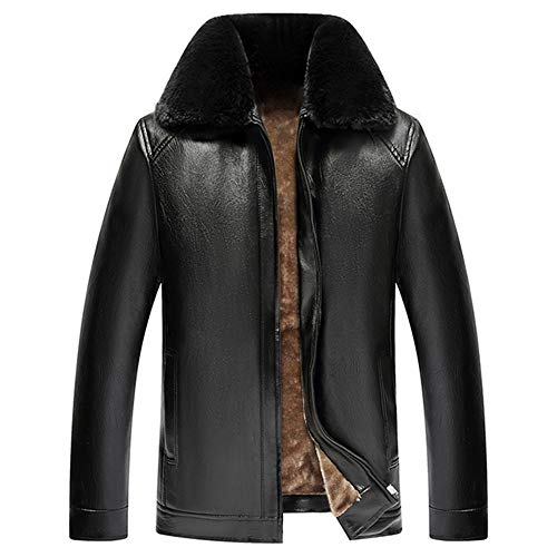 BEIXUNDIANZI Winter Herren Pelzkragen Herren Herbst Winter Bomberjacke mit Pelzkragen Retro Revers PU Lederjacke Military Warme Fleece-Innenseite Winterjacke Zipper Übergangsjacke A-Black 2XL