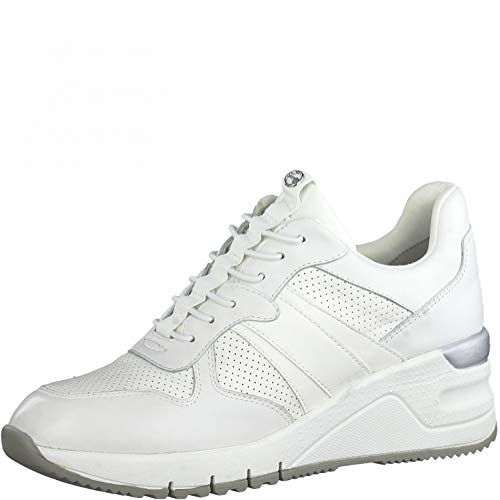Tamaris Femme Baskets, Dame Bas,Faible,Semelle intérieure Amovible,Sneaker,Chaussures de Sport,Wedge Heels,Chaussure Basse,White UNI,39 EU / 5.5 UK