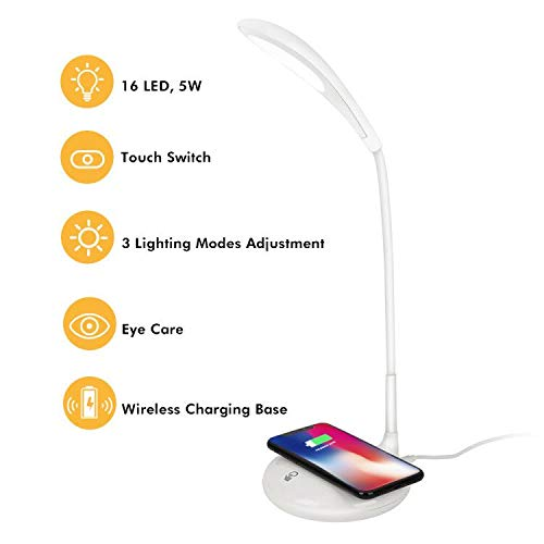 LED 台灯,Botoo 柔性鹅颈台灯,带无线充电,办公台灯白色,3 级亮度等级,5V/1A USB 充电端口,触摸控制和*照明