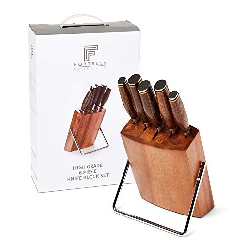 Fortress Damascus Kitchen Knife Set - 5 Professional Quality Knives - Pakkawood Handles - Comfortable Grip - Acacia Wood Block - Japanese Cutlery - Sharp Blade