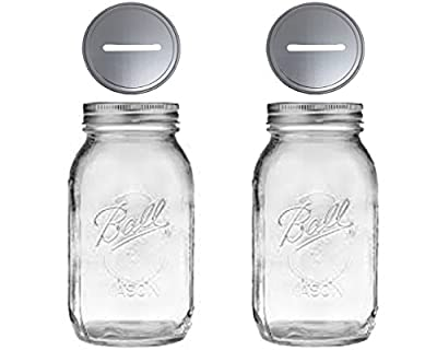 2 Mason Jars With 1-piece Slotted Bank Jar Lid Regular Mouth Quart 32 ounce Piggy Bank For All Ages (2)