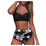 Youmymine Women Strappy Padded Swim Top Overlay Flounce Crisscross Tankini Feather Print Swimsuits (M, Black-A)
