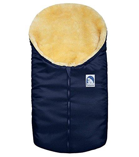 HEITMANN Felle Eisbärchen Kleiner Baby Lammfell Winter Fußsack blau waschbar, Wind- und wasserabweisend, ca. 78x40 cm
