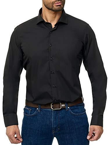 BARBONS Herren-Hemd - Bügelleicht - Tailord-Fit - Langarm-Hemd für Business Freizeit Büro - A - Schwarz (ÄL68) M (39-40)
