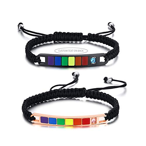 VNOX Set of 2 Customized Gay Lesbian LGBT Pride Rainbow Relationship Handmade Weave Braided Rope Bracelets Wristband for Gay Lesbian Couples