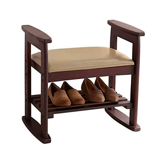 YWSZJ 2 Capa Banco de Zapatos escabel Acolchado de Almacenamiento de Madera del Zapato de Zapatos Retro de Almacenamiento gabinetes Pasillo de Altura Ajustable de la PU cojín de Asiento