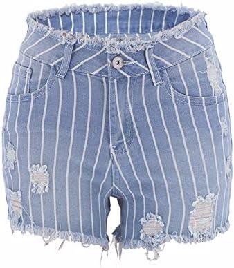 TIMOTHY BURCH Spring New Striped Women's Hip Denim Shorts