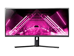 The Dark Matter 34 inch Curved Gaming Monitor features a vast 3440x1440 (UWQHD) resolution. An ultrawide 21:9 aspect ratio providing 35 percent more desktop real estate than a traditional WQHD 16:9 display. The 1500R curvature enhances immersion and ...