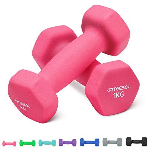 arteesol Dumbbells 1kg / 2kg / 3kg / 4kg / 5kg / 8kg Pairs with Dumbbells Light Heavy for Men Women Weights Home Gym Strength Exercise Waterproof and Non-Slip (Set of 2)