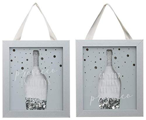 Set van 2 zilveren glitter decoratieve Slogan Prosecco fles opknoping glas Shaker Frames Plaques