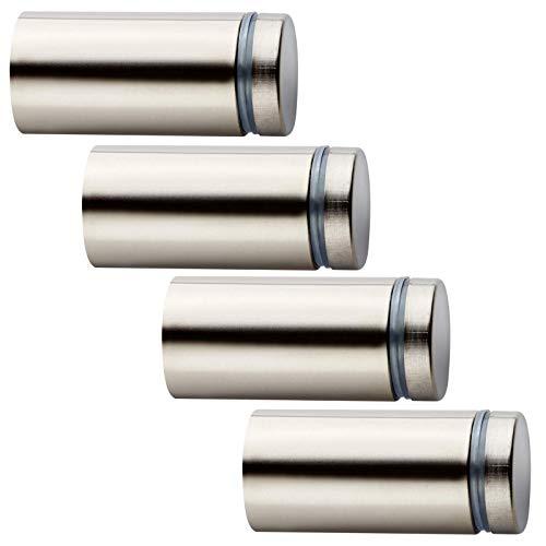 4 Stück Glas-Abstandshalter Ø 16 mm mit 26,2 mm Wandabstand Edelstahloptik Abstandhalter Distanzstück Schildbefestigung von SO-TECH®