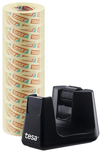tesa Easy Cut Smart + 8 Rollen tesafilm transparent 33m:19mm - Robuster Abroller mit Anti-Rutsch Funktion in schwarz und transparentem Klebefilm
