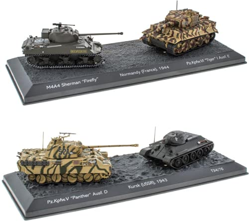 - Lote de 4 Tanques Militares 1:72 World of Tanks: Panther + T3476 + Sherman + Tigre (OT1 + 2 + 3 + 4)